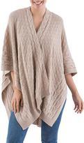 Soft Beige Knitted Baby Alpaca Andean Ruana Cloak, 'Beige Chic'