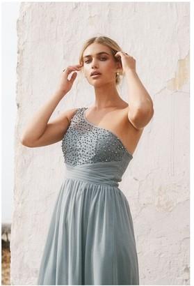 Little Mistress Bridesmaid Luanna Pistachio Embellished One-Shoulder Maxi Dress