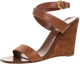 Sergio Rossi Brown Leather Open Toe Wedge Ankle Strap Sandals Size 39.5