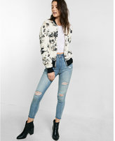 Express marbled faux fur bomber jacket