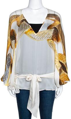Roberto Cavalli Cream Chain Print Silk Front Tie Detail Sheer Kaftan M