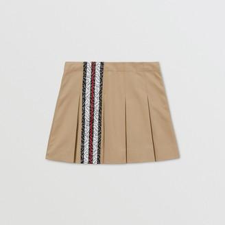Burberry Childrens Monogram Stripe Print Cotton Skirt