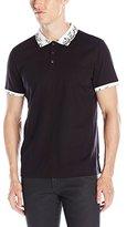 Calvin Klein Men's Slim Fit Printed Collar Short Sleeve Polo Shirt
