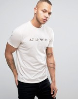 Armani Jeans Date Logo T-shirt Regular Fit Acid Wash In Grey