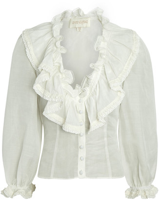 Divine Heritage Ruched Ruffle Blouse