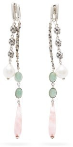 Chloé Rose-quartz & Crystal-embellished Clip Earrings - Pink Silver