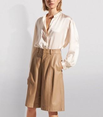 Vince Satin Collarless Blouse