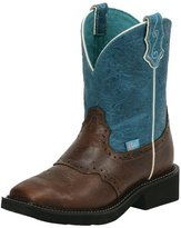 Justin Boots Justin Western Boot Womens Cowgirl Broad Square Toe Cognac L2927