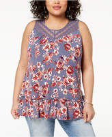 Eyeshadow Trendy Plus Size Printed Ruffle Top