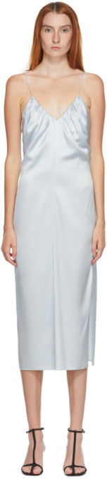 Helmut Lang SSENSE Exclusive Blue Silk Ruched Long Dress