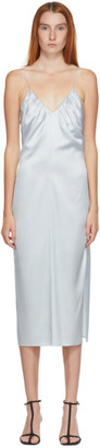 Helmut Lang SSENSE Exclusive Blue Silk Ruched Long Dress