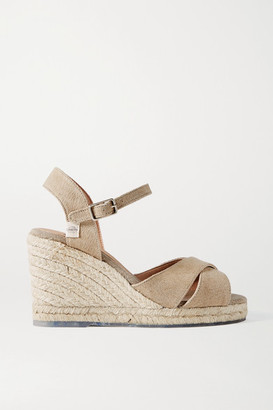 Castaner Net Sustain Blaudell 80 Canvas Wedge Sandals - Mushroom
