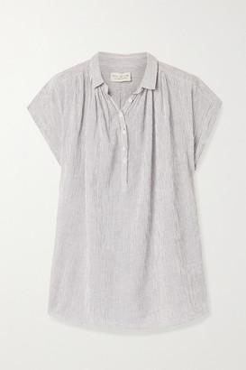 Nili Lotan Normandy Striped Cotton-voile Blouse - Navy