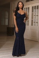 Jessica Wright Sistaglam Loves Adard Navy Lace Cowl Neck Maxi Dress