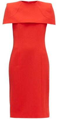 Givenchy Megan Cape-sleeve Crepe Midi Dress - Womens - Red