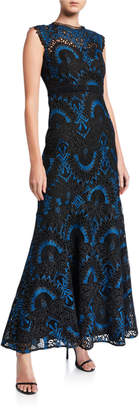 Shoshanna Raven Sleeveless Two-Tone Lace A-Line Gown