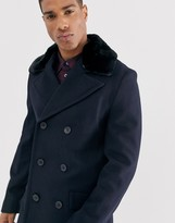 French Connection wool rich double breasted pea coat with faux fur collar-Navy