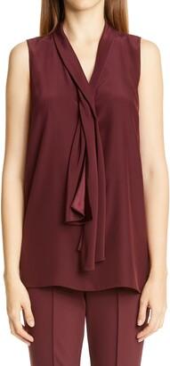 Lafayette 148 New York Tinley Drape Neck Silk Blouse