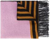 A Peace Treaty stripe panelled fur scarf
