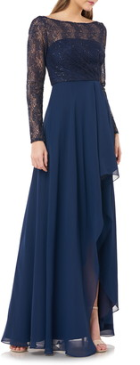 Carmen Marc Valvo Sequin Lace & Chiffon Long Sleeve Gown