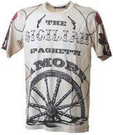Dolce & Gabbana Amore Printed Beige Cotton T-shirt