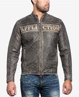Affliction Men's Black Skull Leather Moto Jacket