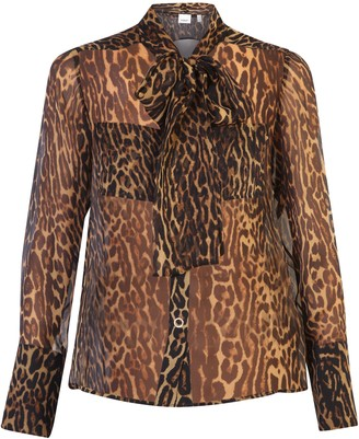 Burberry Leopard Print Bow Blouse