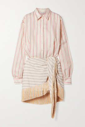 ATTICO Fringed Striped Cotton-blend Jacquard Mini Shirt Dress - Cream