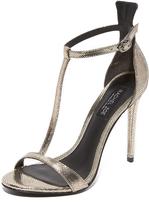 Rachel Zoe Tee Metallic T-Strap Sandals