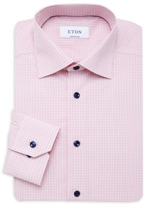 Eton Contemporary-Fit Plaid Dress Shirt With Piping Detail