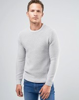 Celio 100% Cotton Knitted Jumper In Waffle Knit