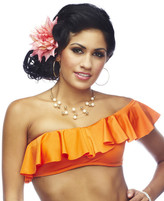 Nicolita Swimwear - Rumba Ruffles Orange One Shoulder Bikini Tube Top