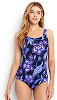 Lands' End Women's Petite D-Cup Tugless One Piece Swimsuit Soft Cup-Deep Sea Twilight Floral