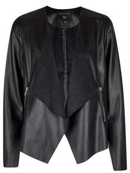 Dorothy Perkins Womens Black Faux Leather Watefall Jacket, Black
