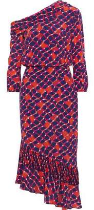Saloni Lexie One-shoulder Printed Silk Crepe De Chine Midi Dress