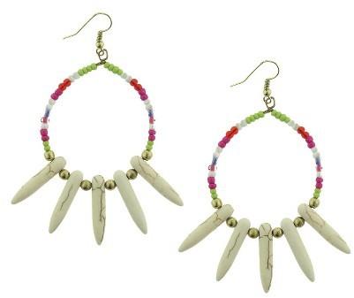 Krishna Beads Industries Women's Seed Bead Hoop Earrings with Howlite Drops - Gold/Multicolor