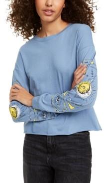 Rebellious One Juniors' Celestial Long-Sleeved Graphic T-Shirt