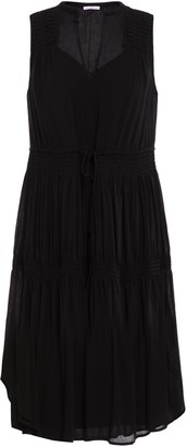 James Perse Shirred Gathered Mousseline Dress