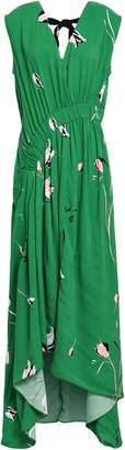 Dagmar House Of Draped Gathered Floral-print Mousseline Midi Dress