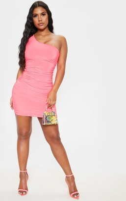 Exclusiv Neon Pink Slinky One Shoulder Ruched Bodycon Dress