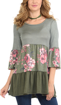 Celeste Sage Floral Tiered Three-Quarter Sleeve Tunic
