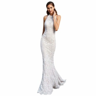 Younthone Women's Sexy Hip Dress Sleeveless Off-The-Shoulder Skinny Fishtail Skirt Wedding Bride Lace Dress Elegant Ladies Slim Cut Dress Hollow Out Ball Gown Cocktail Party(White UK:12/L)