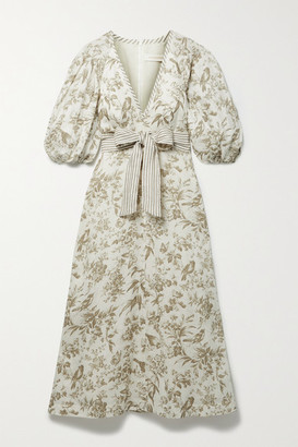 Zimmermann Belted Floral-print Linen Midi Dress - Ivory