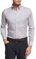 Peter Millar Crown Comfort Solstice Mini-Check Cotton-Silk Shirt, Light Blue