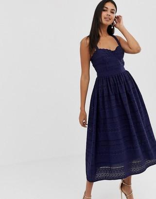 Asos Design DESIGN PREMIUM broderie prom midi dress