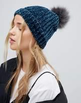New Look Chenille Faux Fur Bobble Hat