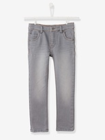 Boys Slim Cut Trousers in Denim-Effect Fleece - stone, Boys | Vertbaudet