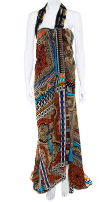 Etro Multicolor Printed Silk Bustier Maxi Wrap Dress M