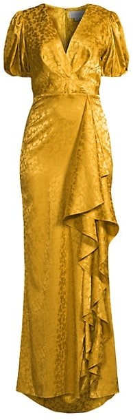 Sachin + Babi Fiona Puff-Sleeve Draped Gown