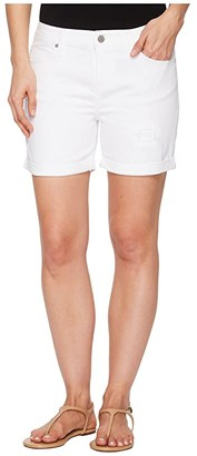 Liverpool Vickie Shorts with Destruct in Comfort Stretch Denim in Bright White